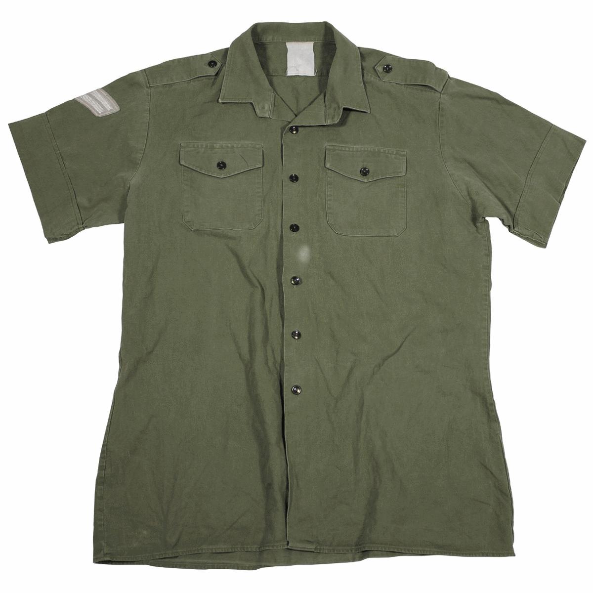 British army surplus vintage olive green short sleev shirt, g1 and g2