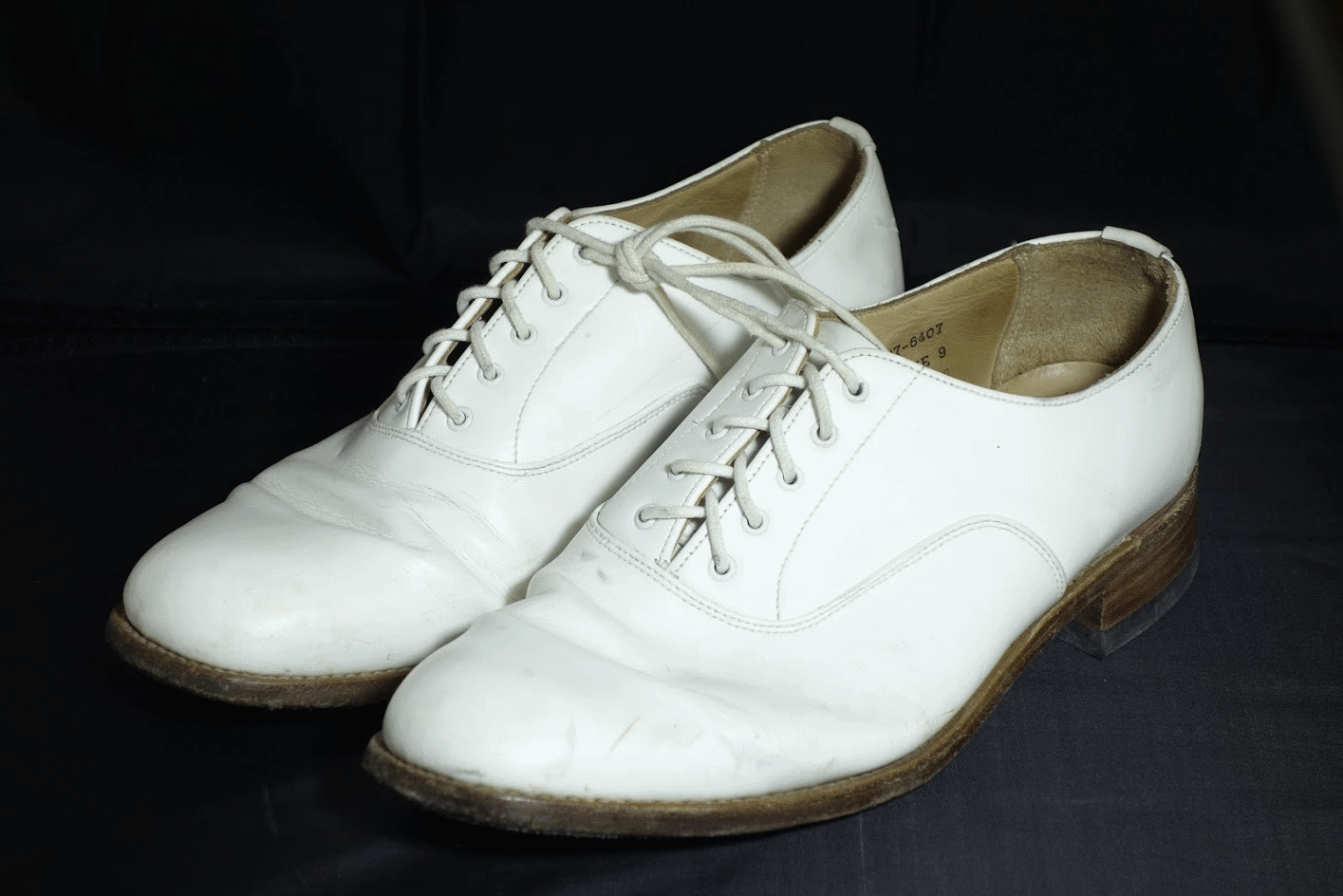 navy surplus WHITE leather parade shoes