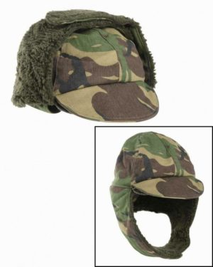 British army surplus cold weather winter cap, fold down ear fur covers