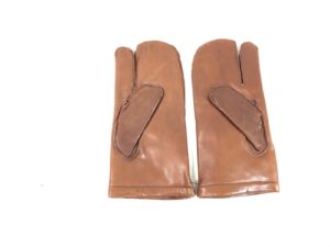 VINTAGE French army surplus brown leather mitts / gloves