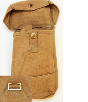 Vintage Italian army surplus canvas sand coloured large ammo pouch