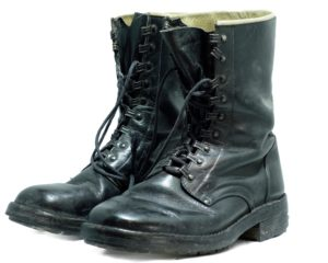 Black leather Italian army surplus lace up combat assault boots