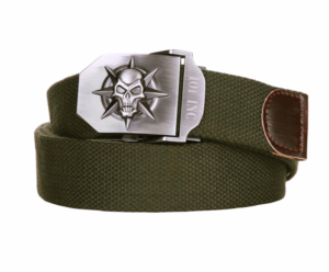 101 inc army skull and star olive cotton canvas metal combat style belt