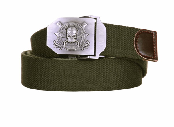 101 inc army FORCE RECON skull olive cotton canvas metal combat style belt