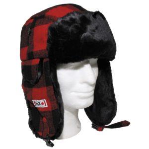 FOX OUTDOOR FUR HAT LUMBERJACK WINTER WARM TRAPPER HIKING EAR FLAPS RED BLACK