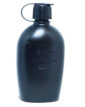 Dutch Army Surplus 1 Litre Water Bottle Canteen Black Cadet Camping