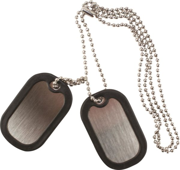 2 x STAINLESS STEEL dog tags , rubber edge protector, chain GI army