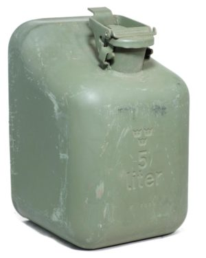 Genuine NEW Swedish army surplus metal 5 litre petrol jerry can