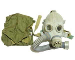 Unique, rare, vintage Soviet Russian Baby small child gas mask and bag