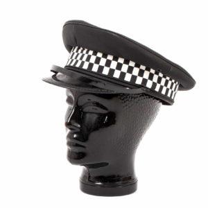 British police / constabulary surplus black chequer peaked cap hat